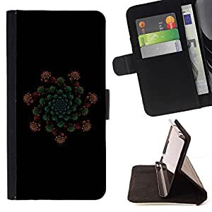 DEVIL CASE - FOR Samsung Galaxy Note 3 III - Floral Abstract - Style PU Leather Case Wallet Flip Stand Flap Closure Cover