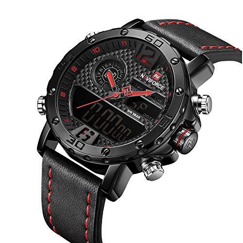 Digital Dual Display Mens Watches Sport Leather Luxury Waterproof Chronograph Casual Wrist Watch