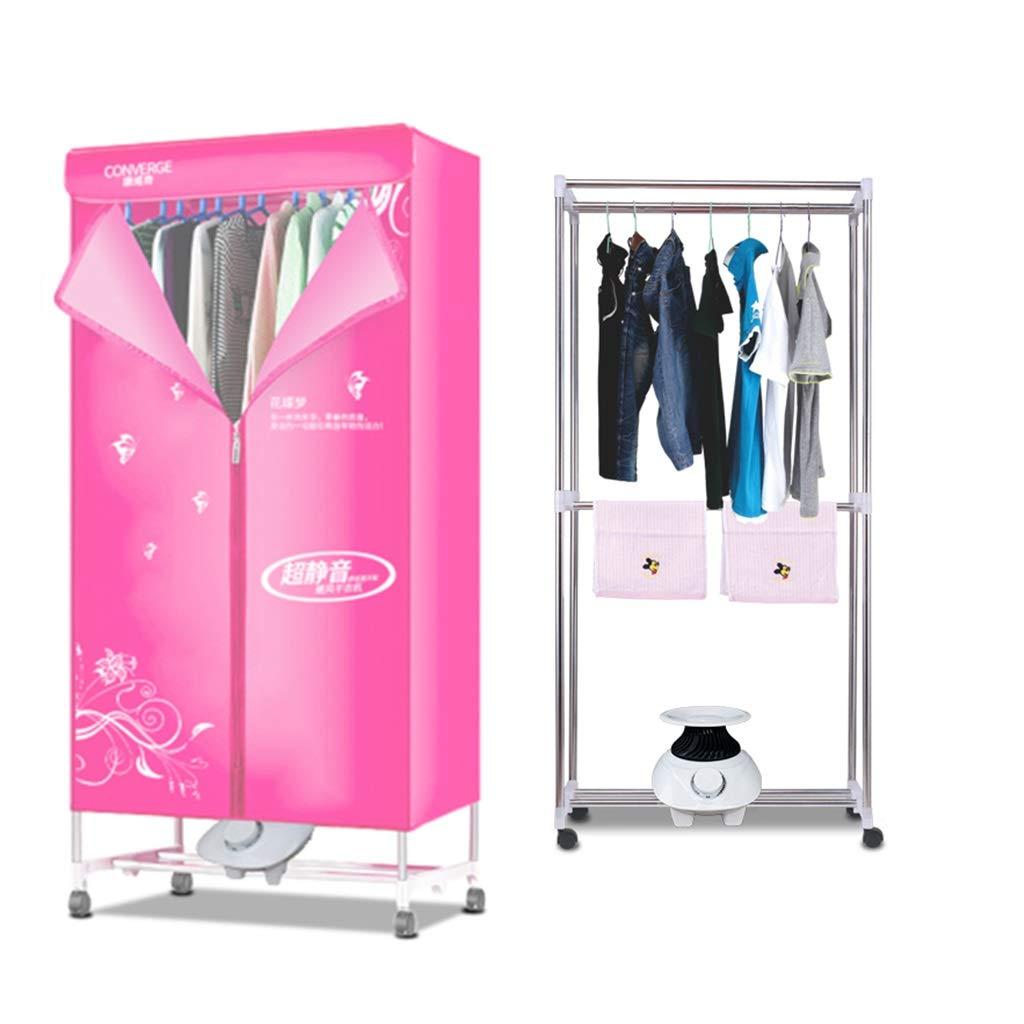 ポータブル衣類乾燥機 - ヒーター、自動タイマー付きダブルレイヤー乾燥機1010W省エネ乾燥ラック多機能消毒ワードローブ /& (色 : Pink) B07KN2MV3Z Pink
