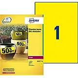 Avery 20 Etiquettes Autocollantes Ultra-Résistantes - 210x297mm  - Impression Laser - Jaune (L6111)