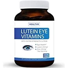 Lutein Eye Vitamins (NON-GMO) Vision Support Supplement for Dry Eyes & Vision Health Care - Bilberry - Proudly Made in the USA - 100% Money Back Guarantee - 60 Capsules