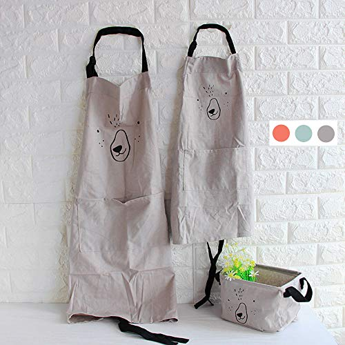 (YOLOPLUS 2 PACK Cotton Parent and Child Apron,Mama 29.5-Inchx22.8-Inch,Kids 21.7-Inchx15.8-Inch,Green Color Antifouling for Cooking,Baking,Painting,Coffee Shop(Parent-child Suit gray))