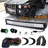 hummer h3 lights - UNI FILTER DOT Approved 32Inch 180W Curved LED Light Bar + 2Pcs Front Lower Hidden Bumper Mounting Brackets + 1x DT Connector Wiring Harness Kit + 1x Rocker Switch for 2006-2010 Hummer H3