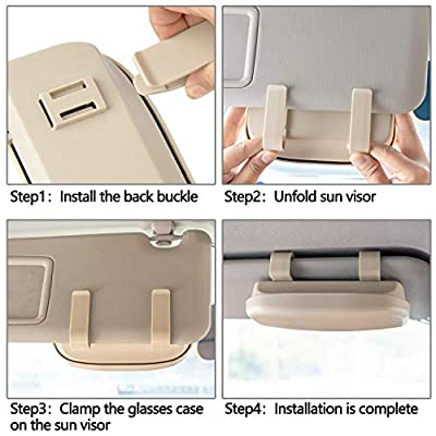 Homesprit Car Sun Visor Glasses Case Holder Clip with Magnetic Closure and Double Snap Clip Design (Creamy-White): Automotive