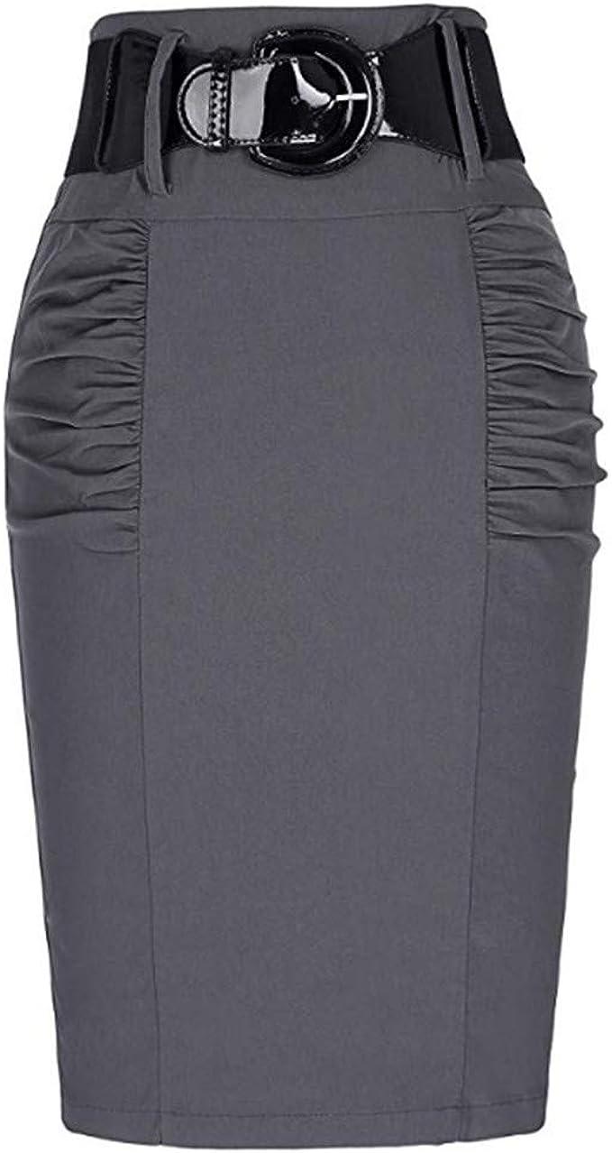 Faldas Mujer Verano Retro Stretch cinturón Falda 2019 Moda Falda ...