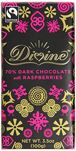 DIVINE CHOCOLATE CHOC BAR DRK W RSPBRRY 3.5OZ