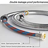 HOMY Flexible Metal Shower Tubing/Hose Faucet 59-inch for Bathroom Toilet Handheld Showerhead Sprayer Extension Replacement Part with Stainless Steel, Polished Chrome