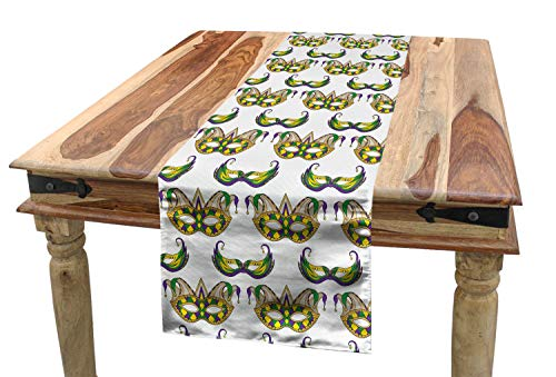 Ambesonne Mardi Gras Table Runner, Pattern with Masks