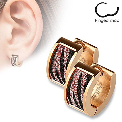 20G Pair of Rose Gold IP over 316L Stainless Steel Earrings with Square Pink Zebra Sand Sparkle