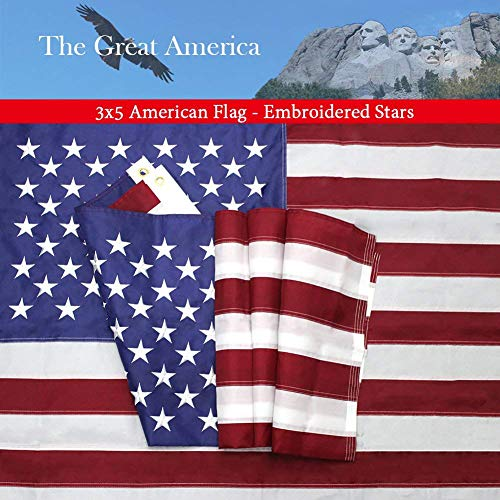 American Flag 3x5 Foot with Embroidered Stars,Premium US Fla