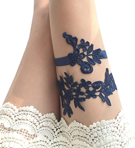 YuRong Wedding Floral Garter Set Bridal Leaf Garter Bridal Garter Set G12 (Navy) by YuRong