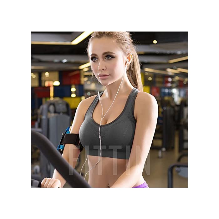 3301933db ... FITNESS Racerback Sports Bras – Padded Seamless High Impact Support for  Yoga- Gym Workout- Fitness.   