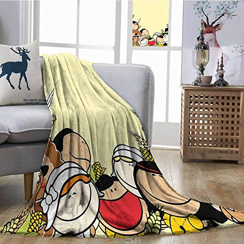 SONGDAYONE Warm Blanket Kids Thanksgiving Anti-Pilling Blanket Smiling Children Native Characters in Wheat Corn Rural Field Pale Yellow Multicolor W60 xL80