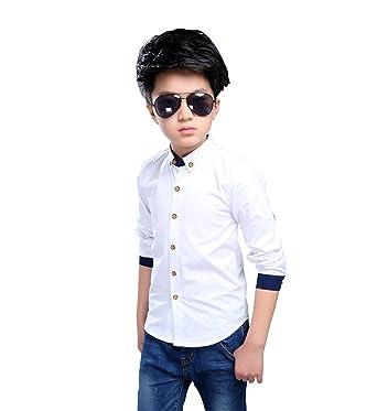 69f1443bc9c8f FEVON シャツ 子供 男の子 長袖 春秋 ワイシャツ 白 フォーマル ボタンダウン トップス キッズ ボーイズ Yシャツ