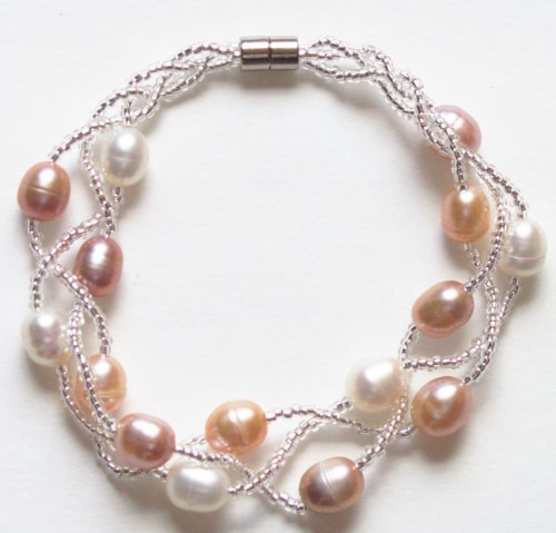 Gifts by Lulee, LLC Magnetic Multi Strand Cultured Freshwater Pearls and Crystal Bracelet (Pink and White)