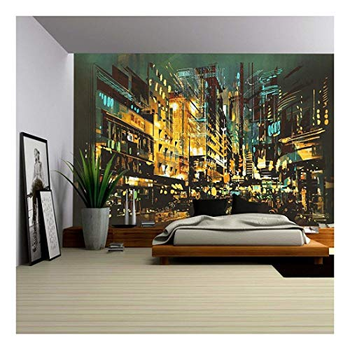wall26 - Night Scene Cityscape,Abstract Art Painting - Removable Wall Mural | Self-adhesive Large Wallpaper - 100x144 inches
