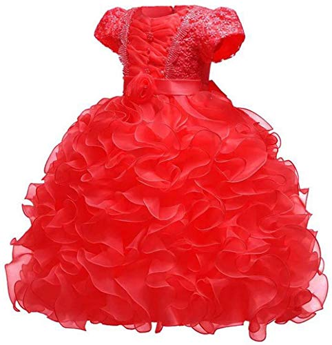 Girl Dress Kids Ruffle Pageant Wedding Party Flower-Girl Size 6 Red Dresses -