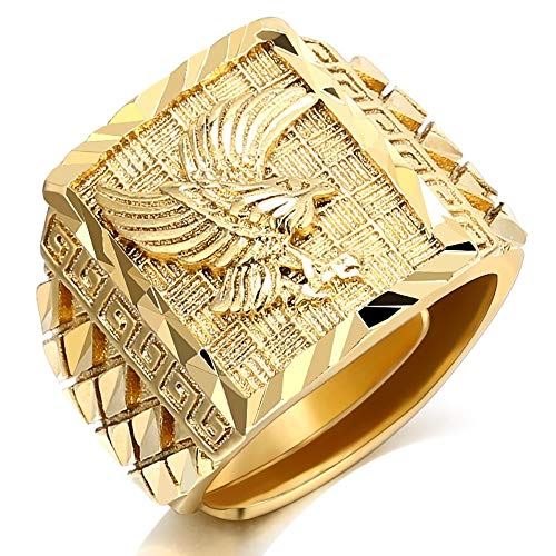 Bling Elvis - MrBigDeal Elvis Presley TCB Eagle 18K Gold Plated Concert Bling Resizable Men Ring Jewelry