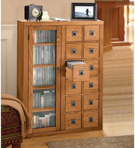 Leslie Dame Librarian s Glass Door Multimedia Cabinet Dark Oak