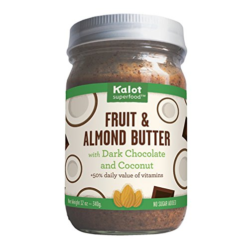 Kalot Almond Butter with Dark Chocolate and Coconut. Nutrient dense whole foods, plus 50% DV of vitamins, no added sugar, no palm fruit oil, gmo free, paleo, vegan, and gluten free (12oz Jar) - Chocolate Almond Coconut