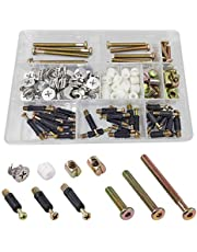 Bestgle 125pcs Furniture Connecting Cam Lock Fittings Connectors with Dowel and Pre-Inserted Nut with M6 Crib Screw and Bolt Replacement Hardware Kit