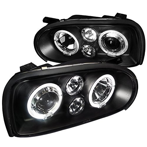 Spec-D Tuning LHP-GLF92JM-TM Volkswagen Golf Mk3 Black Dual Halo Led Projector Head Lights - Golf Dual Halo Projector Headlights