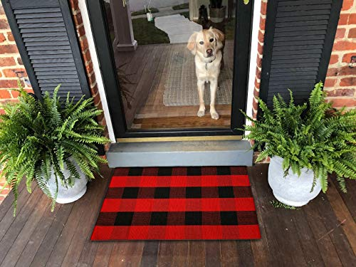 Ukeler Buffalo Plaid Door Mat 2'×3'- Cotton Plaid Rugs Red/Black Hand-Woven Checkered Washable Rag Throw Rugs Front Porch Decor Rug