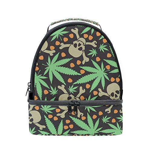 con Alinlo almuerzo y correa escuela el pincnic hombro de aislamiento ajustable hojas con la para con de diseño de calaveras para Bolsa EzrqHz