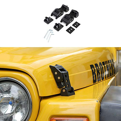 JeCar Hood Latches, Aluminum Hood Catch Latch Set for Jeep Wrangler TJ 1997-2006, Eliminates Hood Flutter