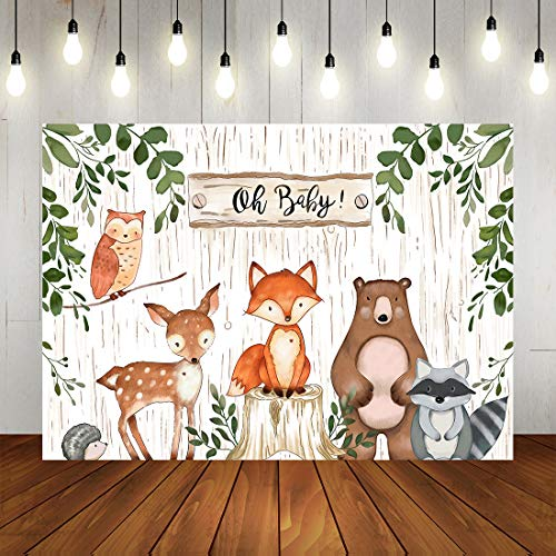 Woodland Baby Shower Backdrop Jungle Animals Theme Banner Happy Birthdays Party Decorations for Kids -