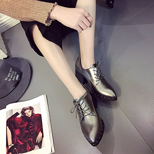 Lace Color Shoes T Official Women's Silver Toe Pointed up Fashion JULY Oxfords Brogue wTgZTYq