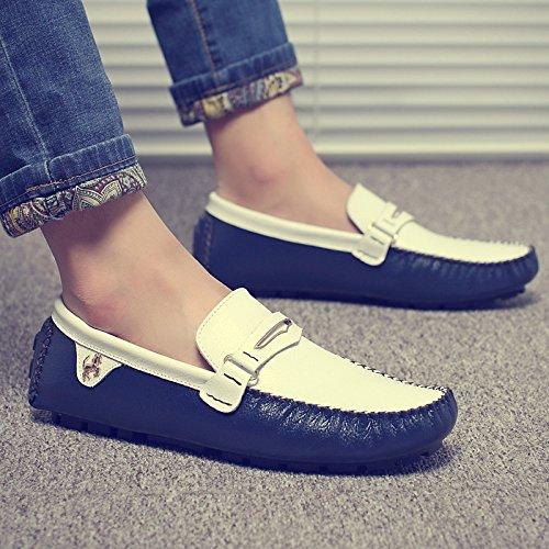 Abby 3237 Mens Sneakers Stil Avslappnad Slip-on Mockasiner Köra Loafers Blå