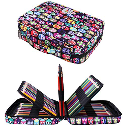220 Colored Pencil Bags Multi-Layer Pencil Case Large Capacity Markers Pen Organizer Watercolor Pen Holder for Students, Painter, Writers & Professional for Storing Various Tool (Beijing Opera)