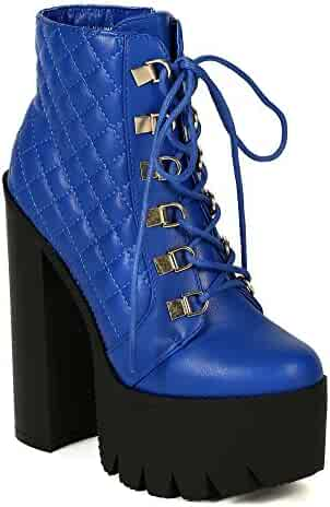 51c1537abb9 Women Quilted Lace Up Platform Chucky Heel Bootie BD91 - Royal Blue