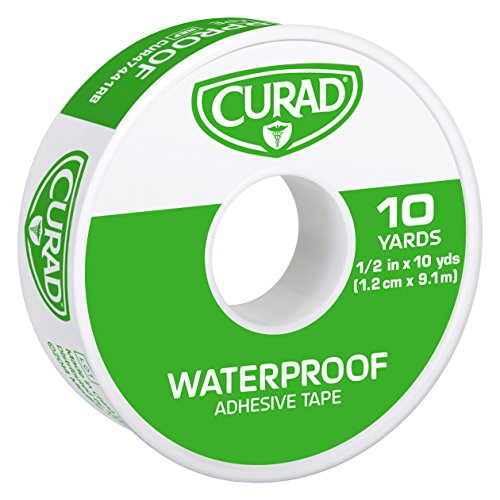 Curad Waterproof Adhesive Tape, 1/2 inch x 10 yards (Pack of 6) Adhesive First Aid Tape