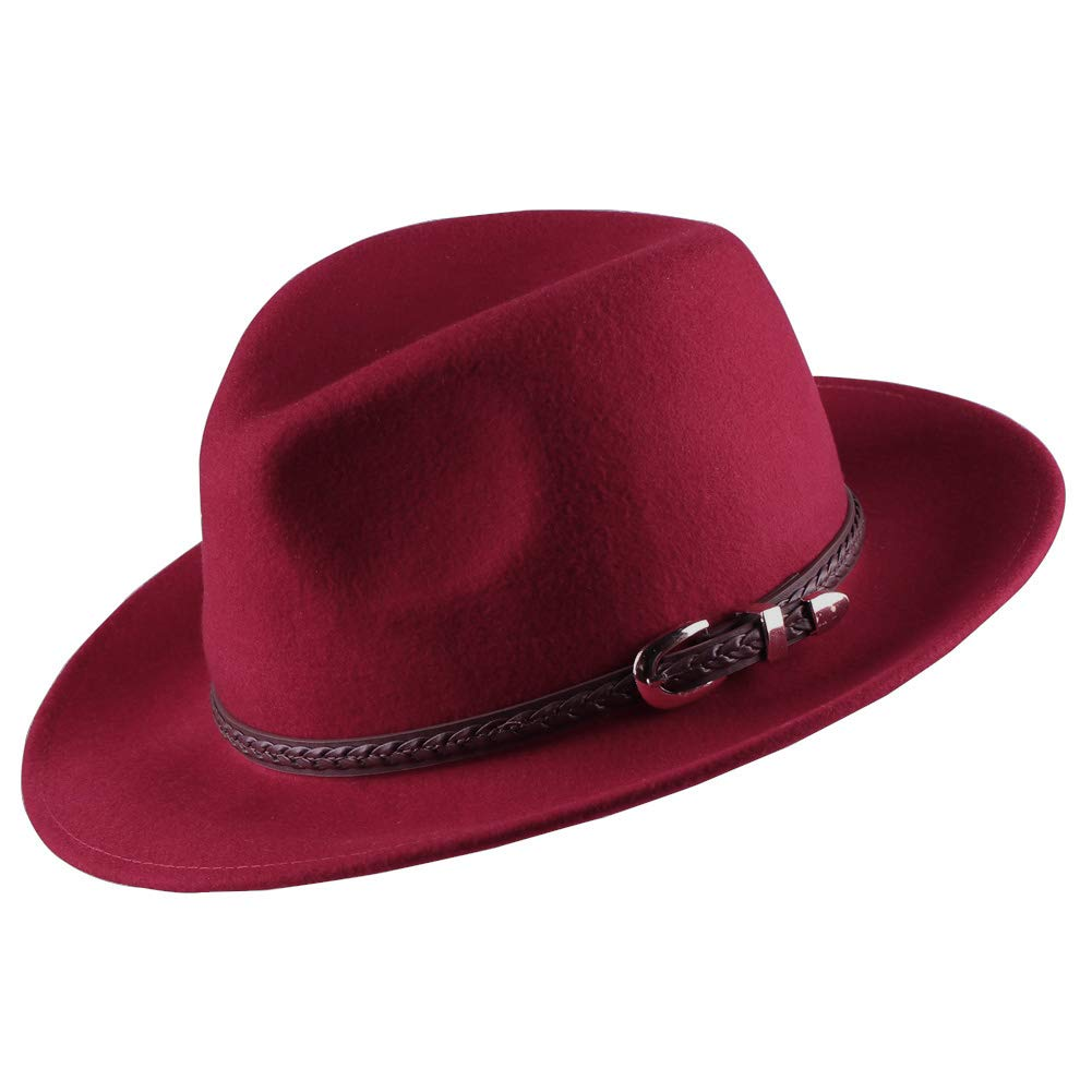 Verashome Wool Fedora Hat Women's Felt Panama Crushable Vintage Style with Leather Band (Blood Red) by Anycosy