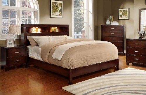 Metro Headboard Bedroom (Furniture of America Metro Platform Bed with Bookcase Headboard and Light Design, Eastern King, Cherry)
