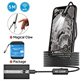 WiFi Endoscope, 1200P Semi-Rigid Wireless Borescope Inspection Camera 2.0MP HD Waterproof Snake Camera with 8 Adjustable Led for Android,iOS Smartphone,MacBook OS with Carrying Case (16.5 ft)