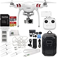 DJI Phantom 3 Standard Quadcopter Drone with 2.7K Camera and 3-Axis Gimbal & Manufacturer Accessories + DJI Propeller Set + Water-Resistant Hardshell Backpack + MORE (DJI Official Refurbished)