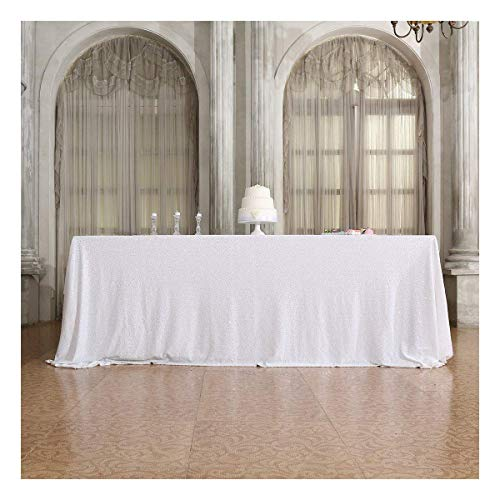 Poise3EHome 60×120'' Rectangle Sequin Tablecloth for Party Cake Dessert Table Exhibition Events, White -
