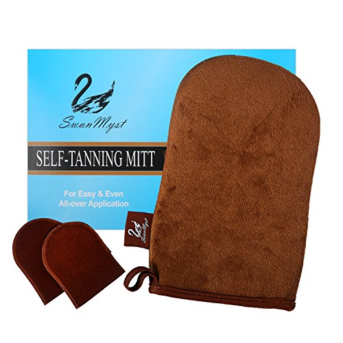 SwanMyst Double-sided Soft Microfiber Self Tanning Applicator for Streak-Free Tan, 2 Free Mini Facial Mitts (Velour Body)