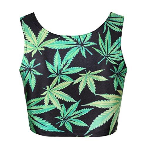 Cheer Leader' Marijuana Leaf Print Crop Tank Top Tees Shirts Skater Skirt Suits