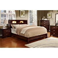 Furniture of America Metro Platform Bed with Bookcase Headboard and Light Design, Eastern King, Cherry