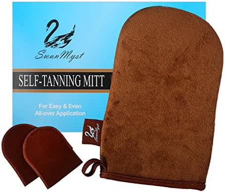 SwanMyst Double-sided Soft Microfiber Self Tanning Applicator for Streak-Free Tan, 2 Free Mini Facial Mitts included