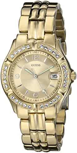 GUESS Women's U85110L1 Dazzling Sporty Mid-Size Gold-Tone Watch