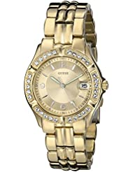 GUESS Womens Stainless Steel Crystal Accented Watch, Color: Gold-Tone (Model: U85110L1)