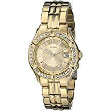 GUESS Women's Stainless Steel Crystal Accented Watch, Color: Gold-Tone (Model: U85110L1)
