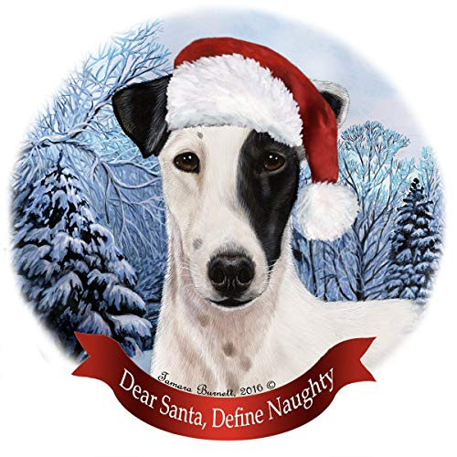 Holiday Pet Gifts Fox Terrier Black/White Dog Santa Hat Porcelain Ornament ()