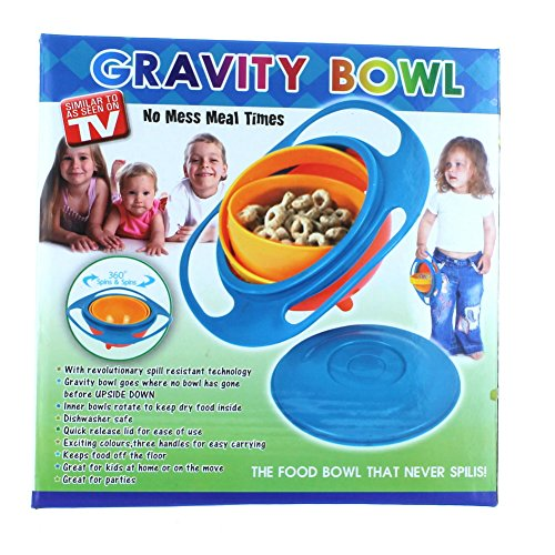 1 X Gravity Bowl Spill Resistant Kid's Snack Food Dish + Lid