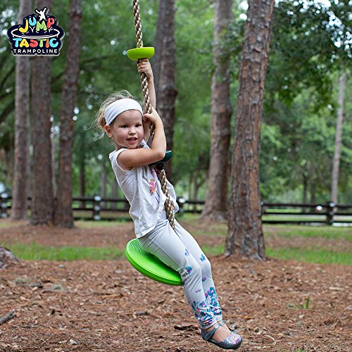 JumpTastic Climbing Rope for Kids, 6.5ft Disc Tree Swing Seat Set for Outdoor Backyard Playground Accessories Set